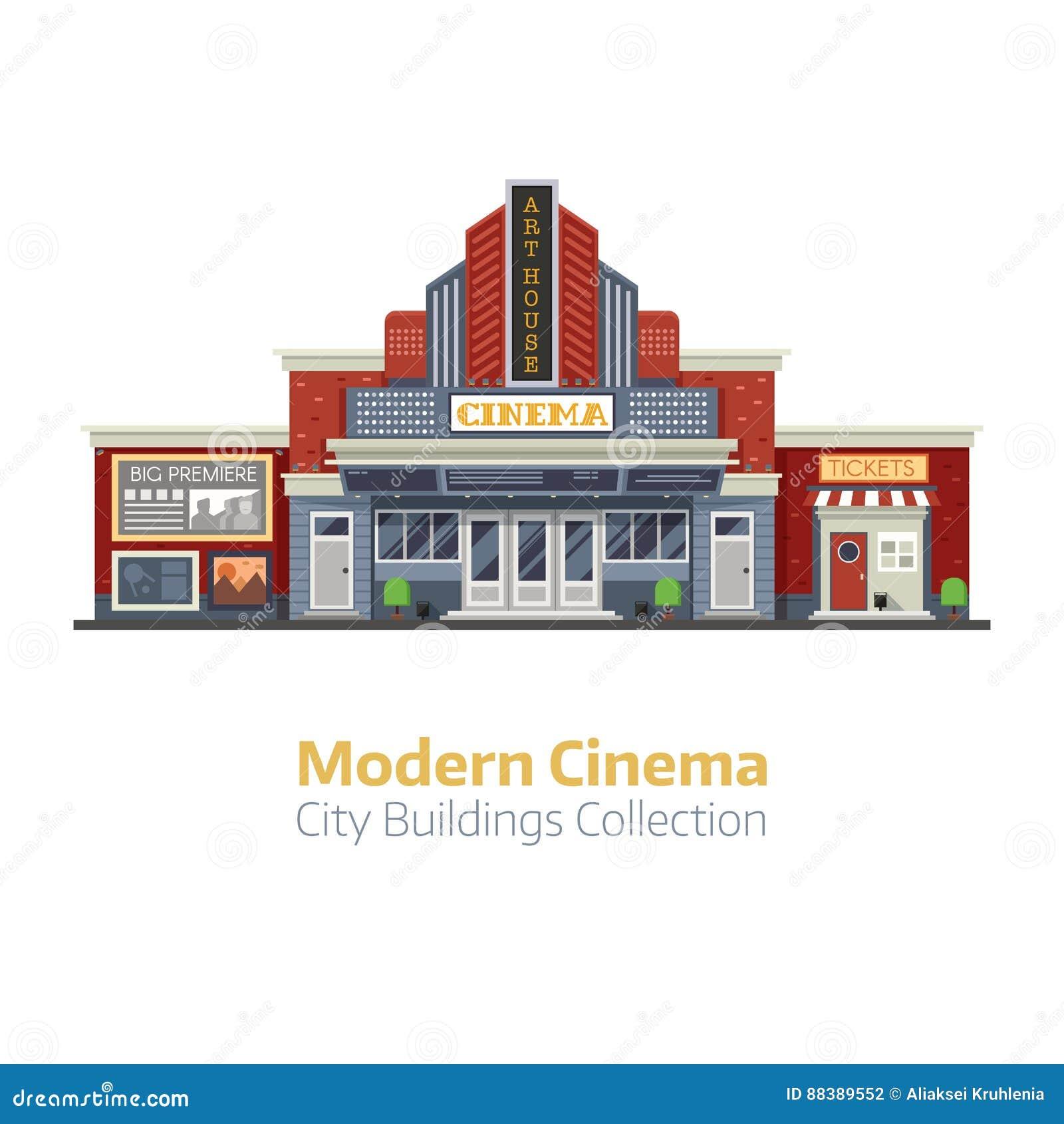 Modernes Kino-errichtendes Äußeres Vektor Abbildung - Illustration ...