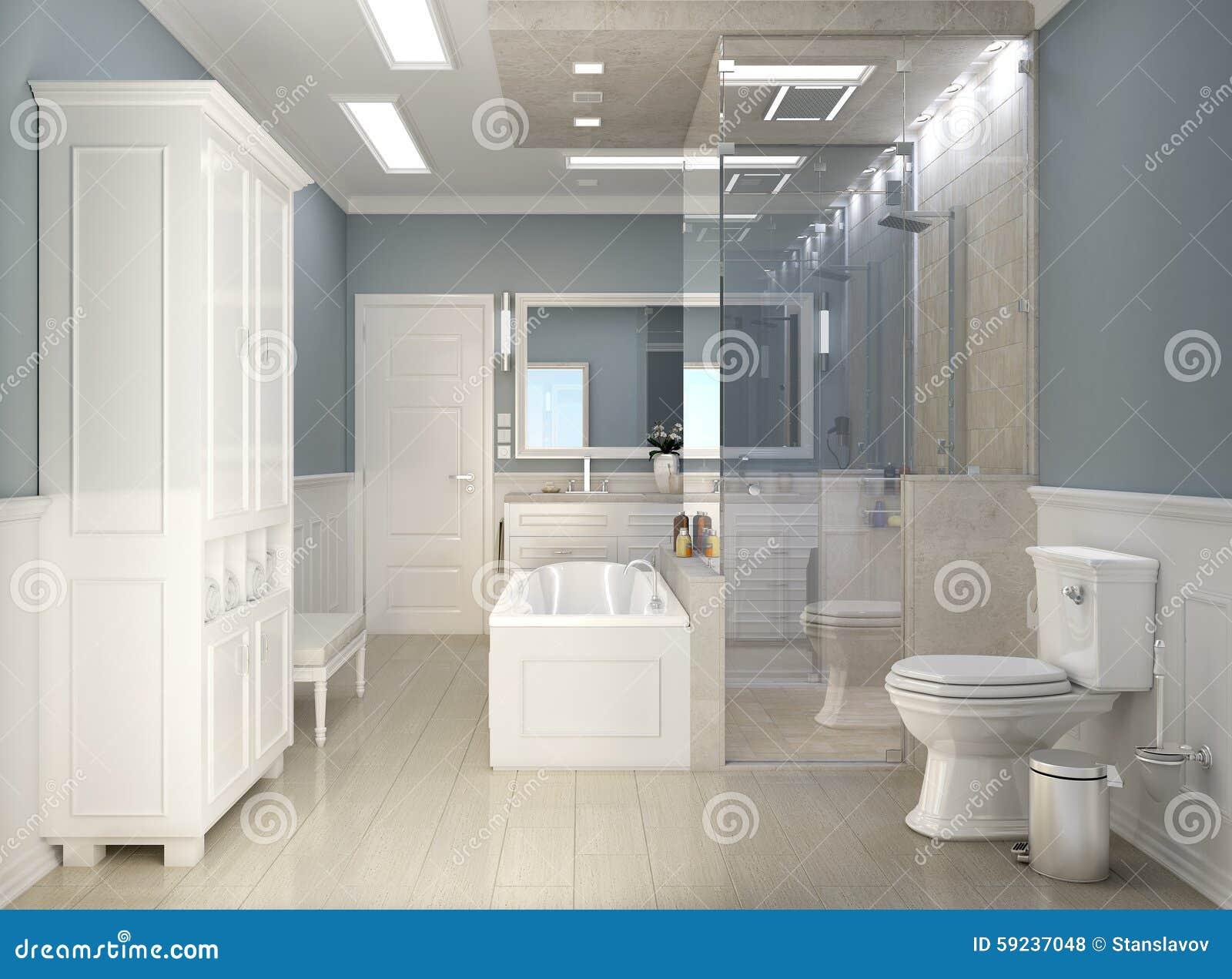 Modernes Klassisches Badezimmer Mit WC Stockfoto - Bild von ...