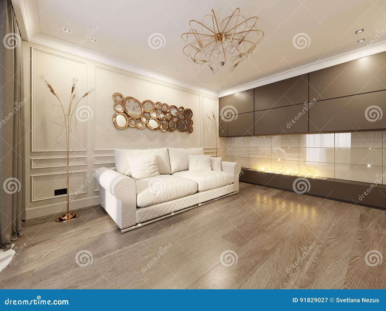 Modernes Klassisches Beige Wohnzimmer-Innenarchitektur Stock ...