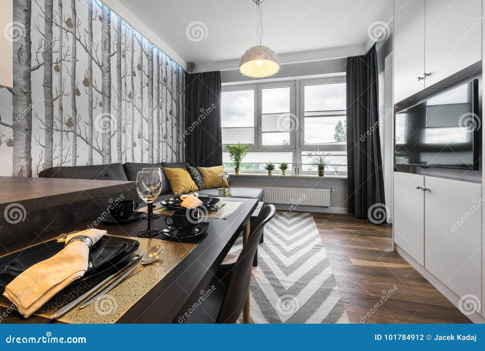 Modernes Kleines Wohnzimmer Der Innenarchitektur Stockfoto - Bild ...