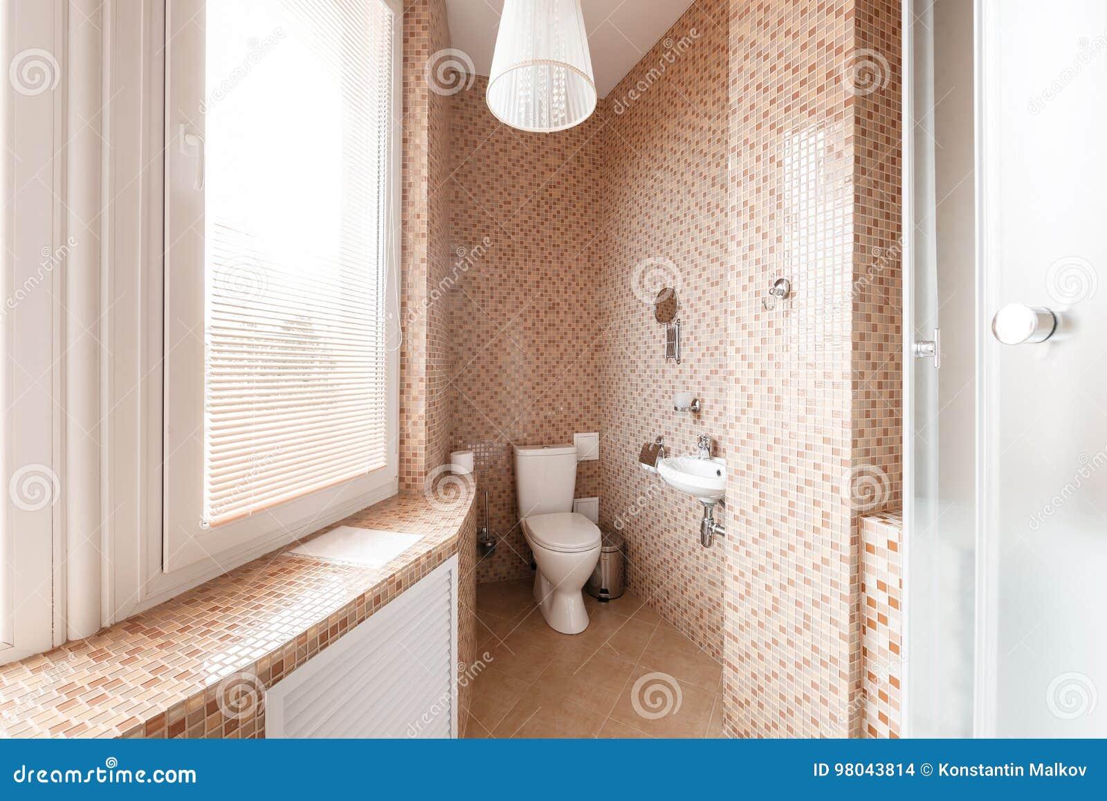 Modernes Luxusbadezimmer Mit Duschkabine Und Fenster Wiedergabe 3d
