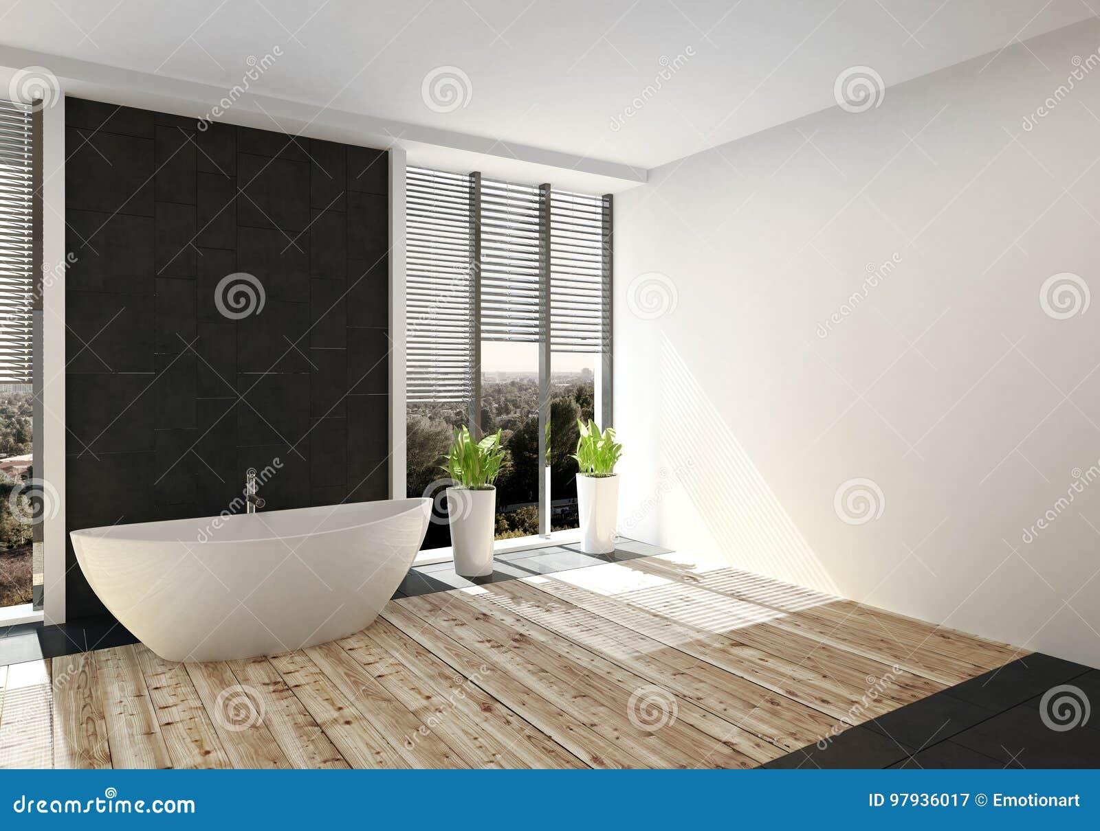 Download Modernes Luxusbadezimmer Mit Hellem Holzfußboden Stock Abbildung    Illustration Von Dachboden, Haus: 97936017