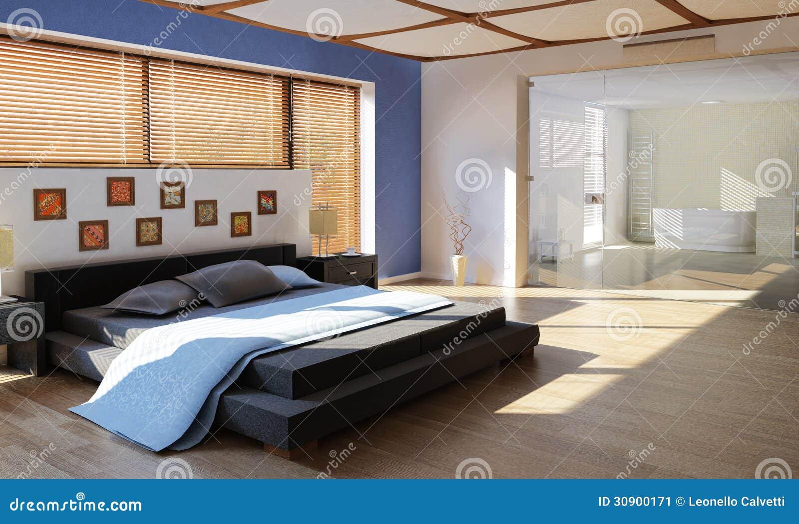 Modernes Luxusschlafzimmer Mit Badezimmer Stockbild Bild