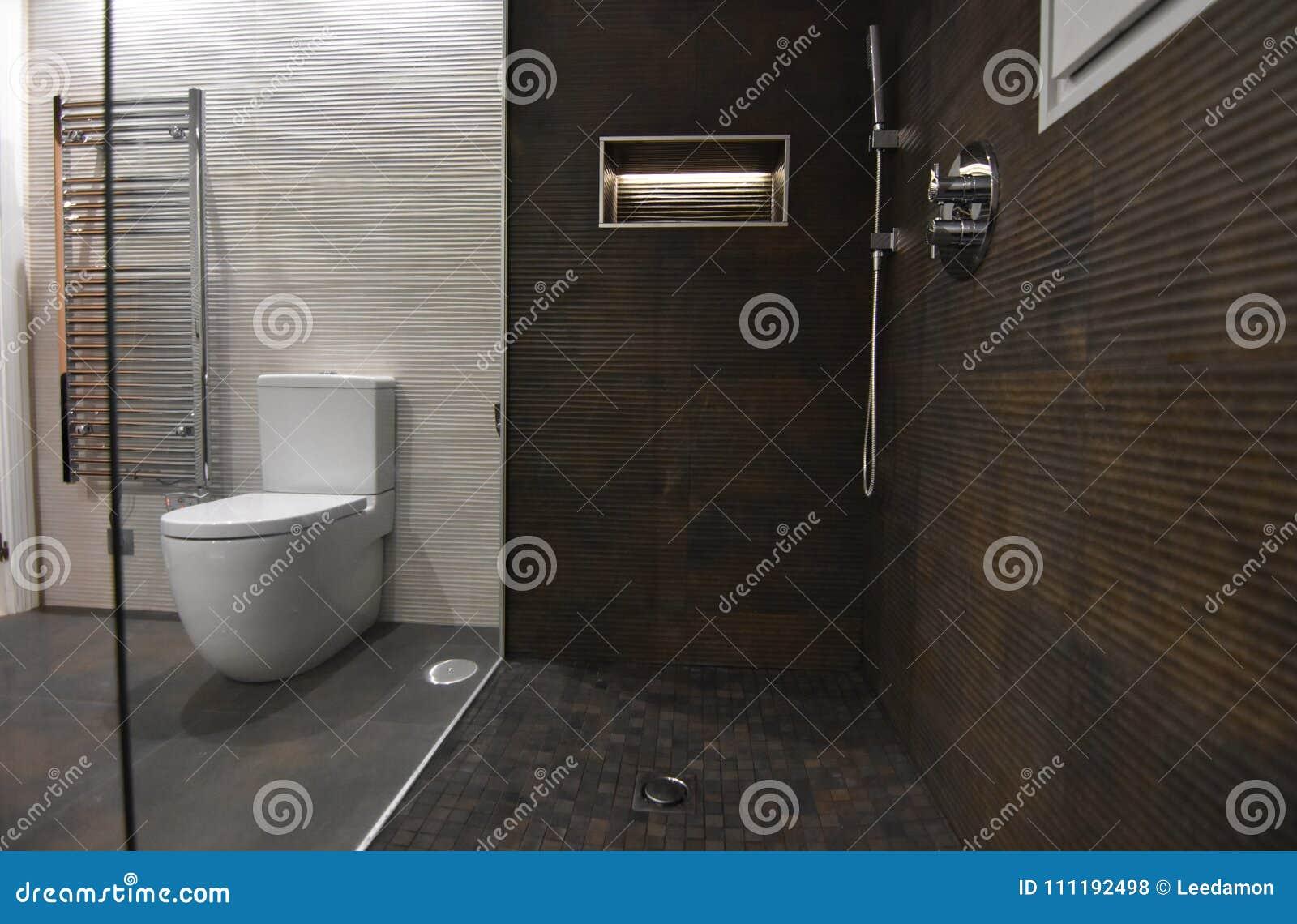 Modernes Mischung Weinlese Badezimmer Weg In Der Dusche