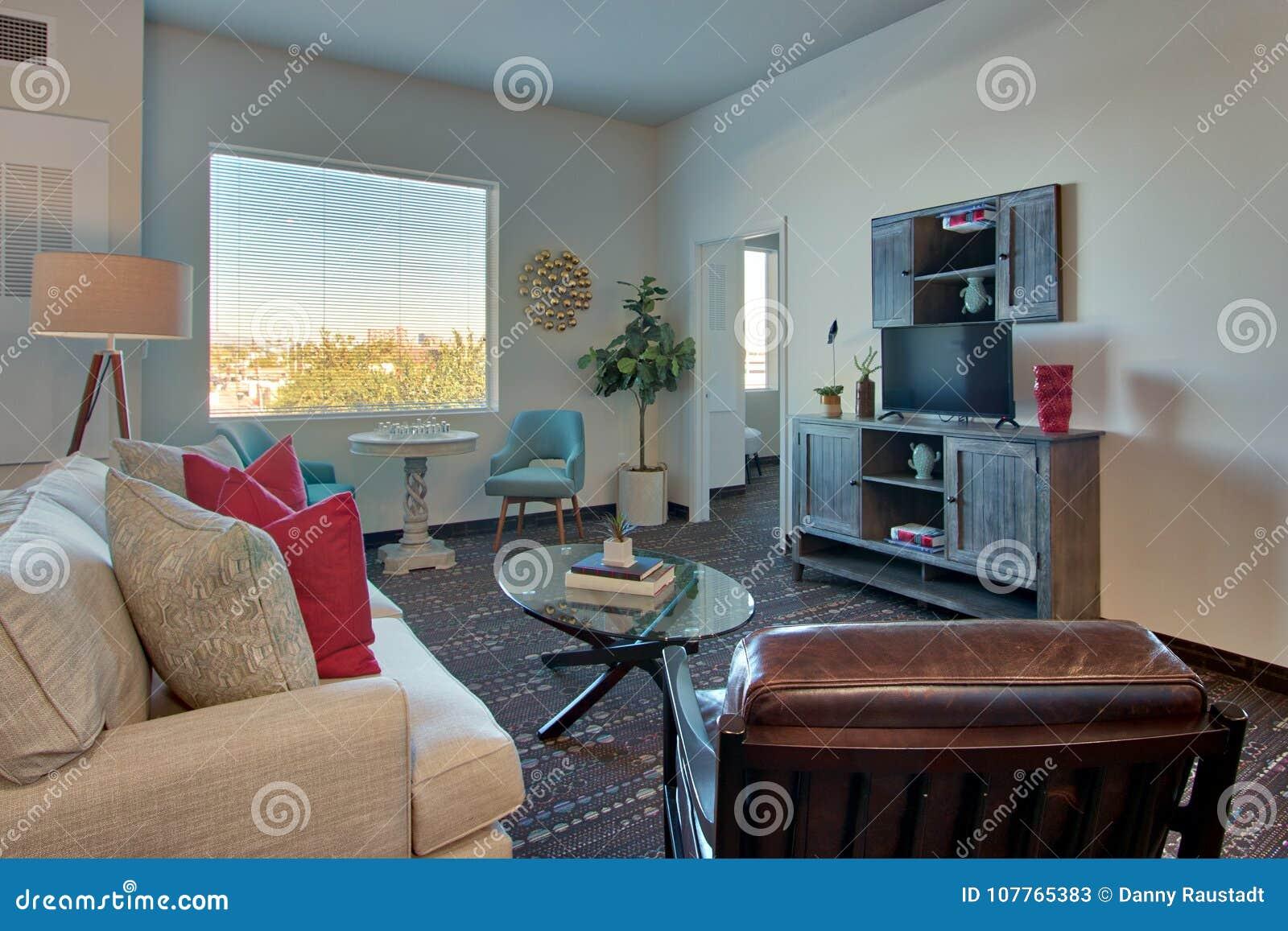 Modernes Neues Luxus-Resort-Wohnzimmer Und Möbel Stockbild - Bild ...