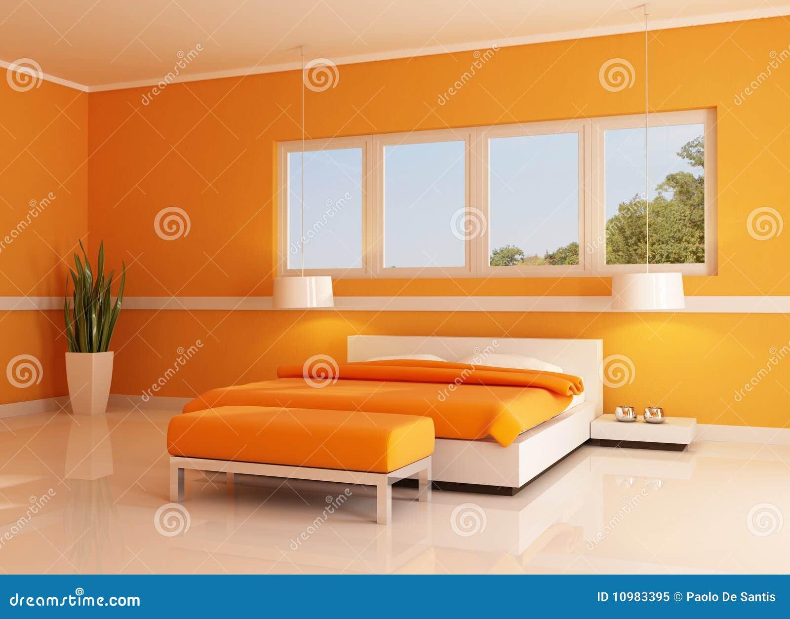 modernes orange schlafzimmer lizenzfreies stockfoto bild