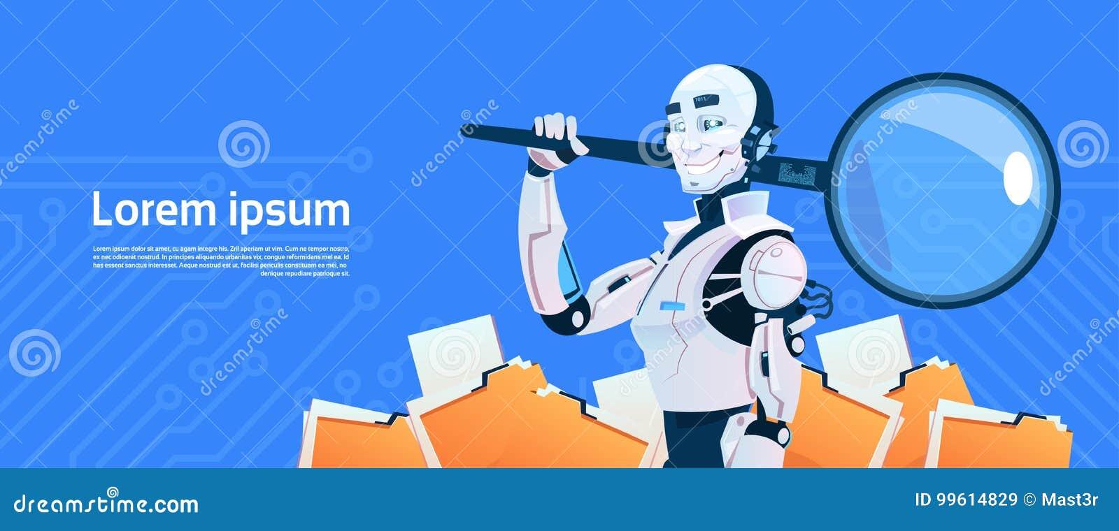 Modernes Roboter-Griff-Lupen-Daten-Suchkonzept, futuristische künstliche Intelligenz-Mechanismus-Technologie