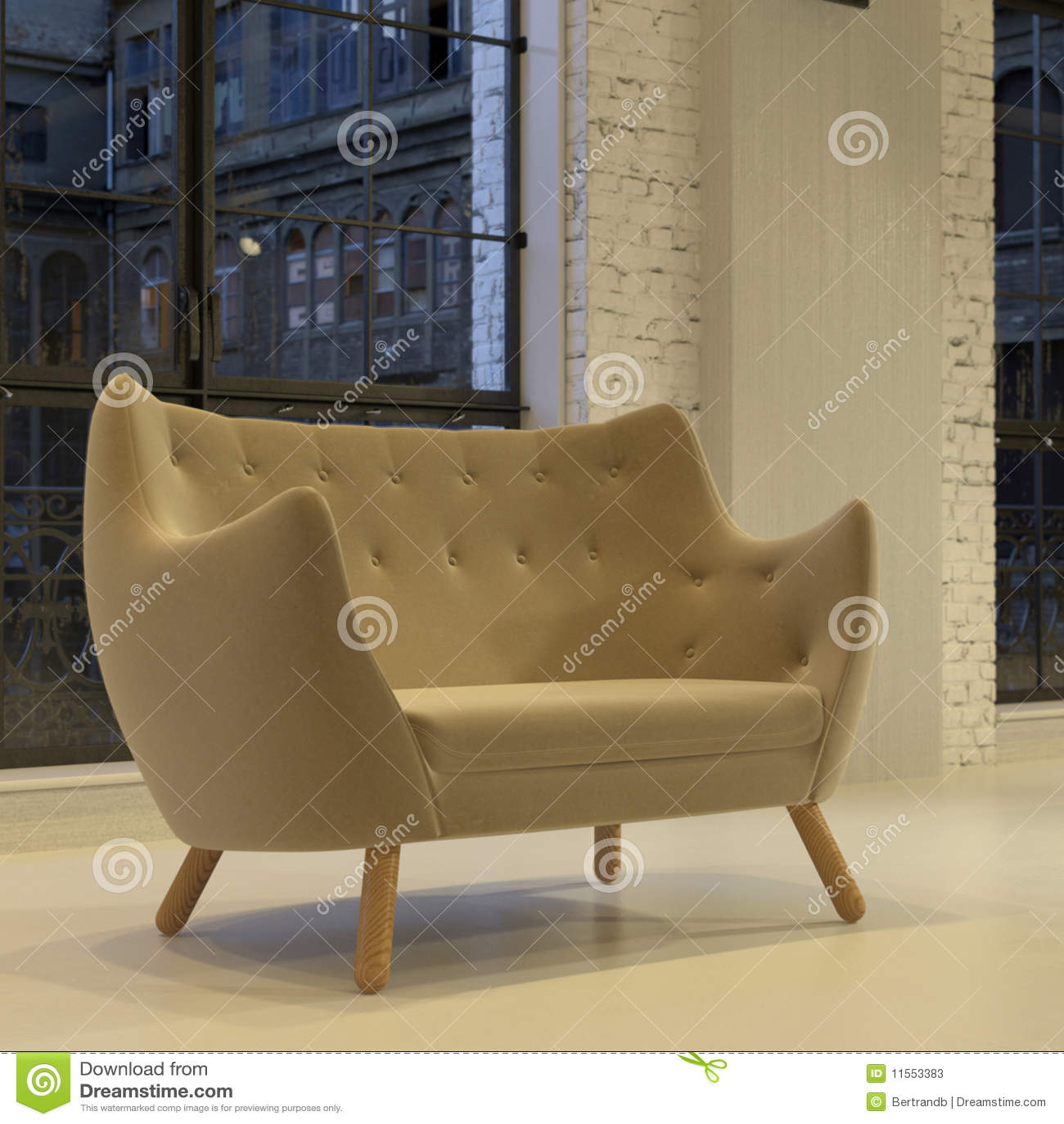 modernes rundes samtsofa im dachboden stockfotos bild. Black Bedroom Furniture Sets. Home Design Ideas