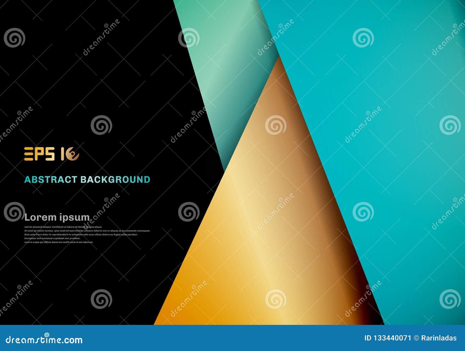 Modernes Schablonenblau, Goldfarbgeometrische Deckungsschicht auf bla