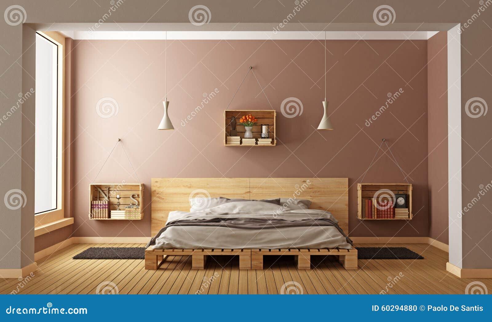 Palettenbett im zeitgenössischen innenraum stockfoto   bild: 59573156