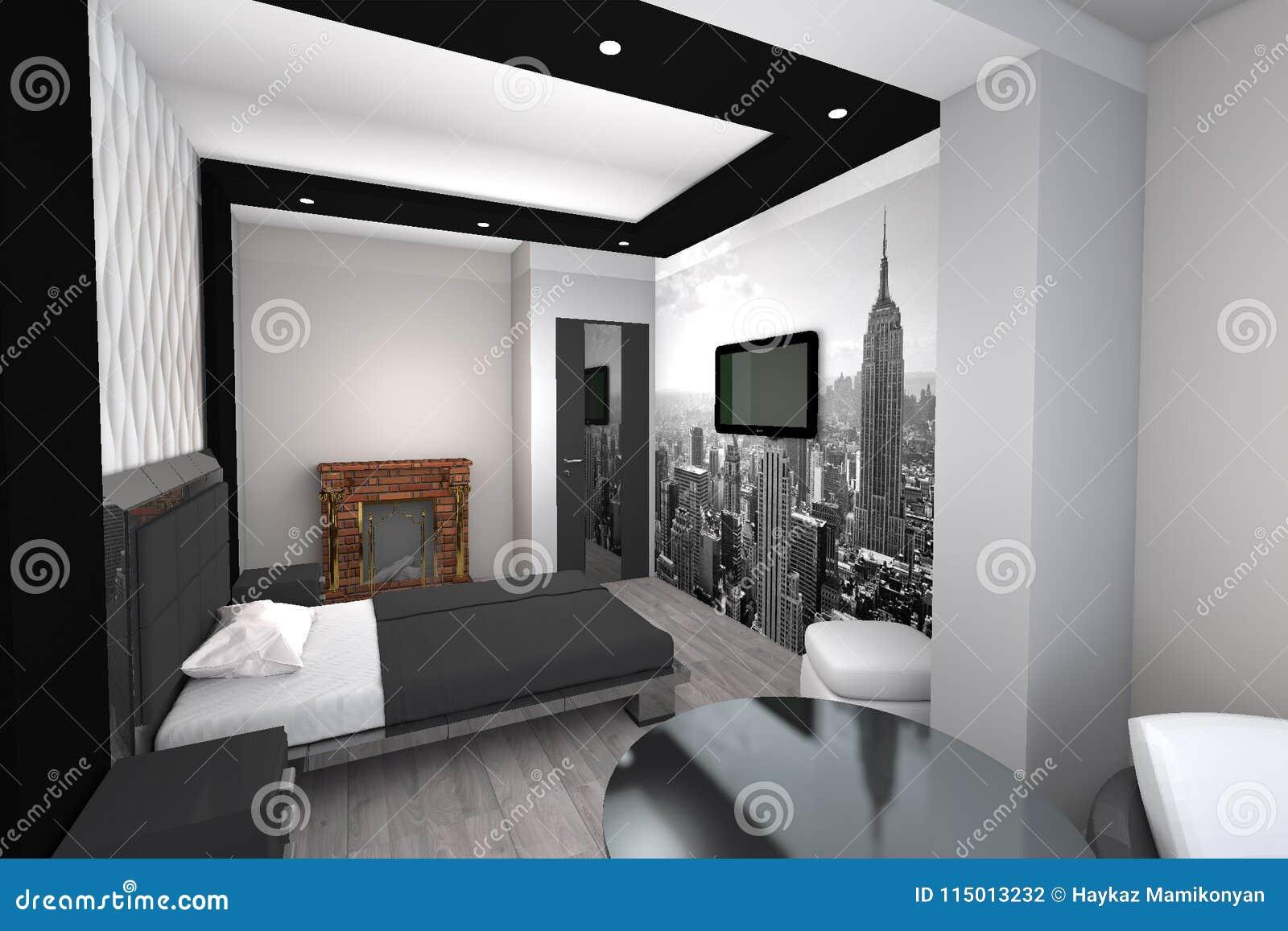 Modernes Schlafzimmer Des Designs 3d Stock Abbildung Illustration