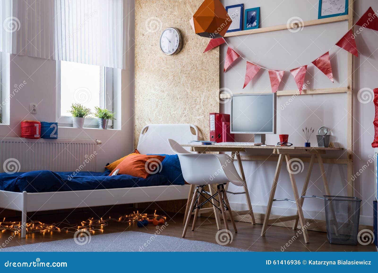 modernes schlafzimmer f r jugendlich jungen stockfoto bild von wohnsitz bett 61416936. Black Bedroom Furniture Sets. Home Design Ideas