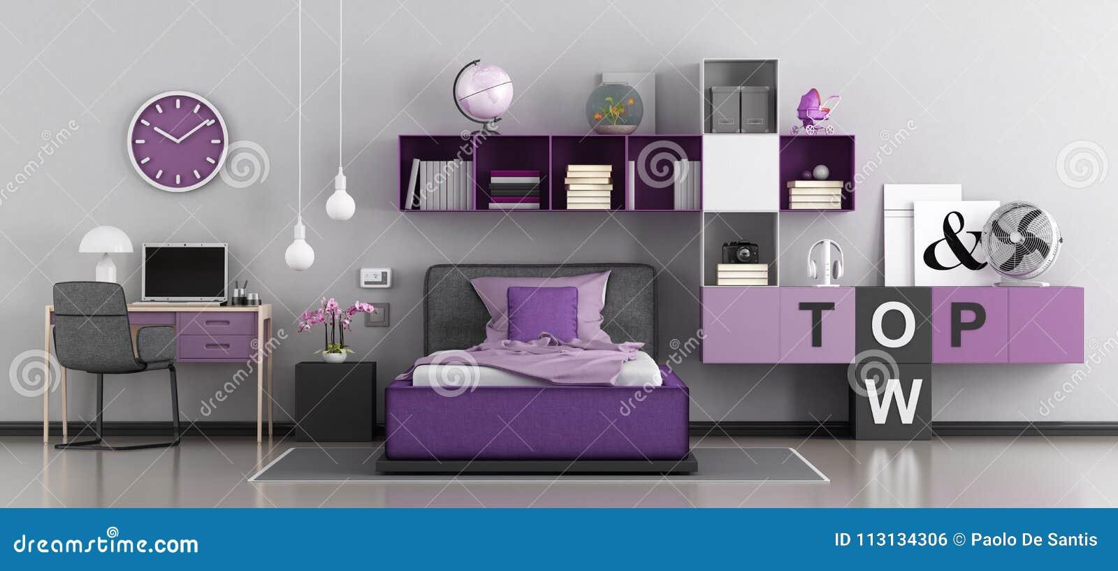 Modernes Schlafzimmer Für Mädchen Stock Abbildung - Illustration von ...