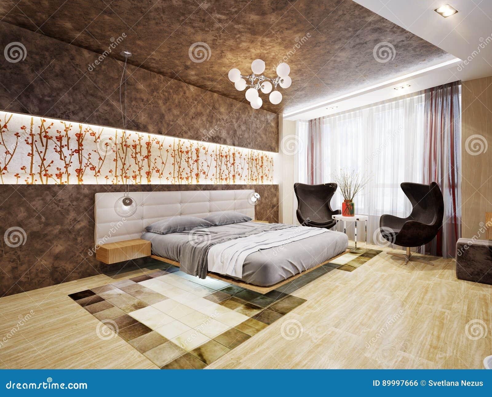 Modernes Schlafzimmer-Innenarchitektur Mit Japanischen Motiven Stock ...