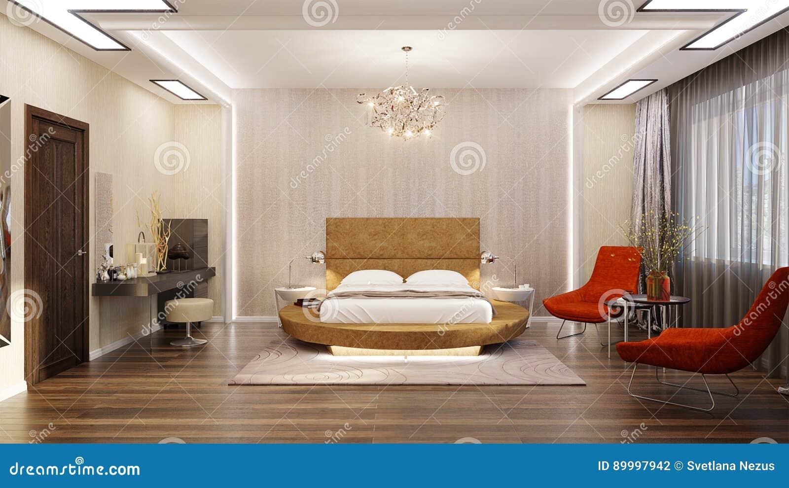 Modernes Schlafzimmer-Innenarchitektur Mit Rundem Bett Stock ...