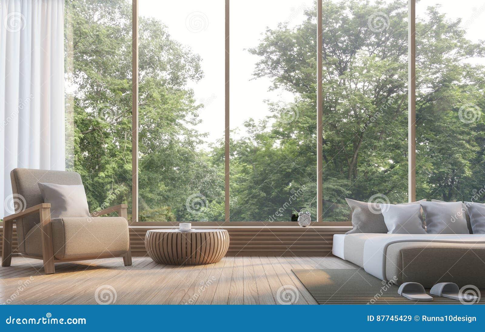 Download Modernes Schlafzimmer Mit Bild Wiedergabe Der Naturansicht 3d  Stock Abbildung   Illustration Von Konzept,