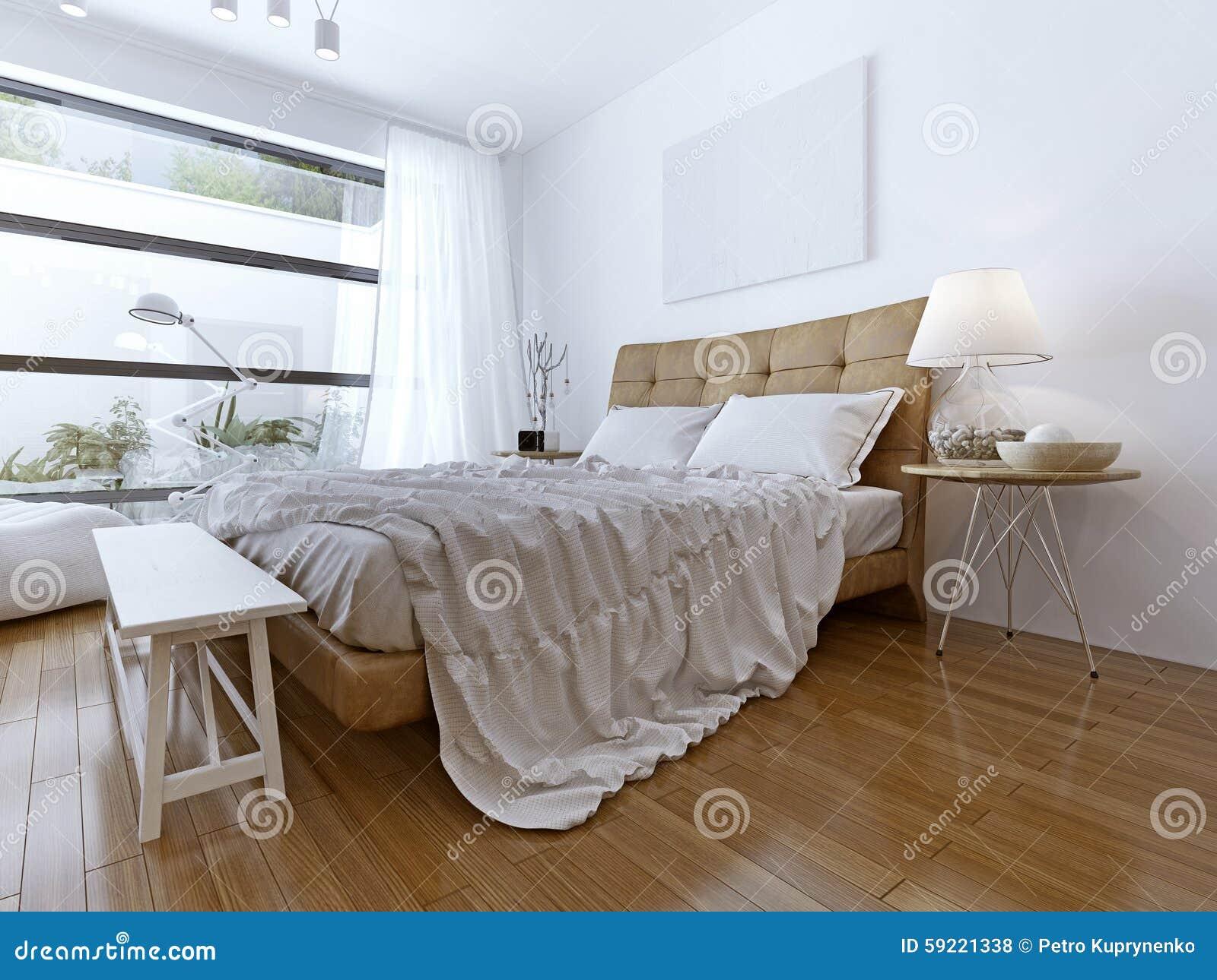 Modernes Schlafzimmer Mit Boden Zu Den Deckenfenstern Stockfoto ...