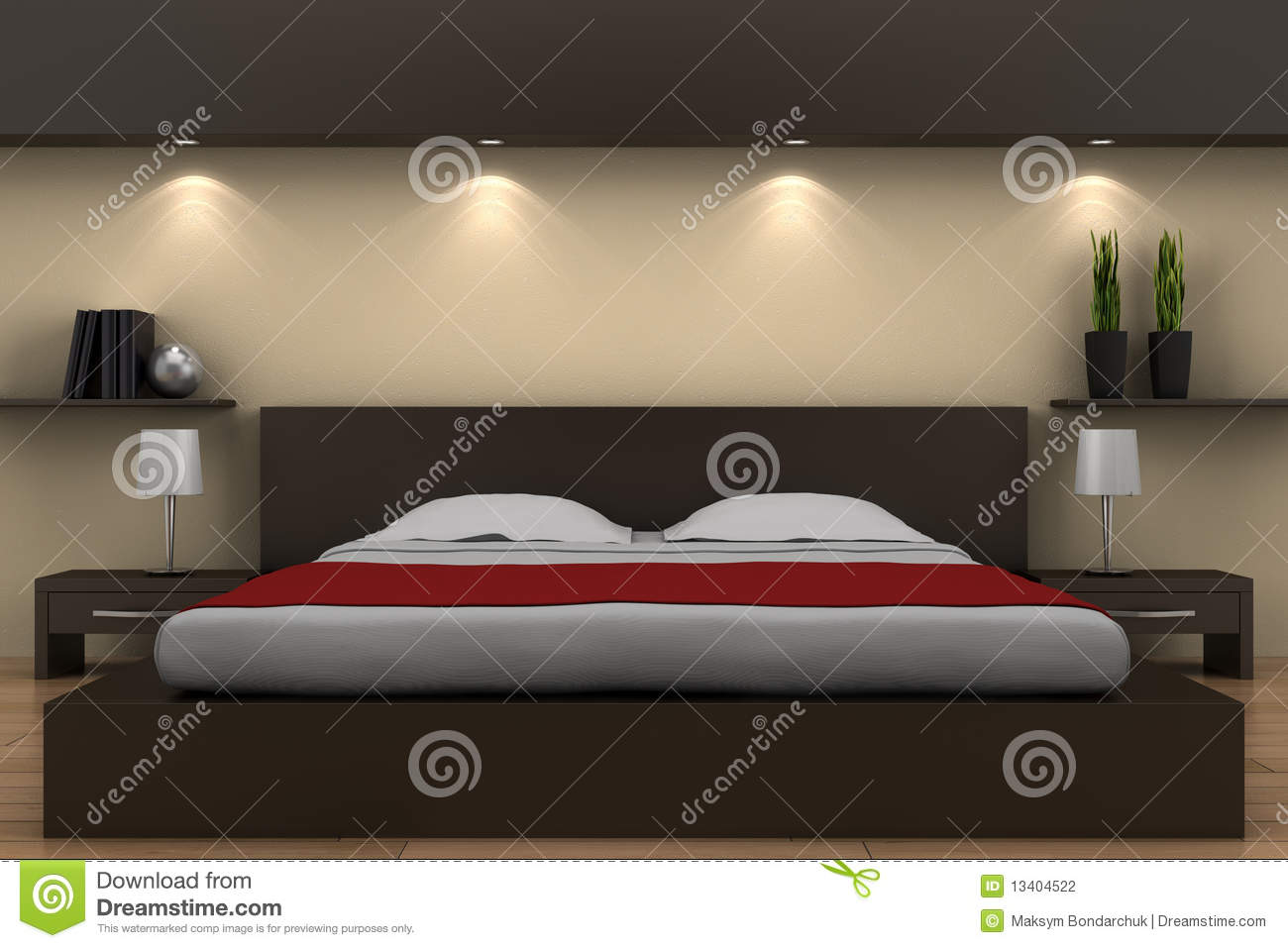 modernes schlafzimmer mit braunem bett stock abbildung illustration 13404522. Black Bedroom Furniture Sets. Home Design Ideas