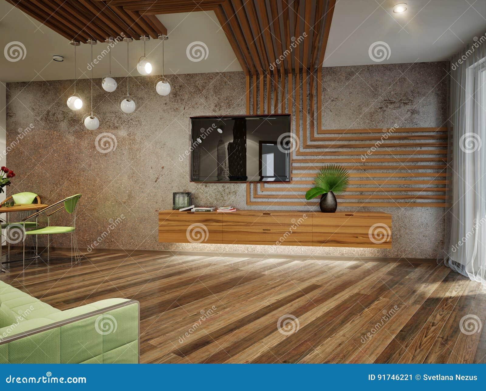 Modernes Städtisches Zeitgenössisches Wohnzimmer-Innenarchitektur ...