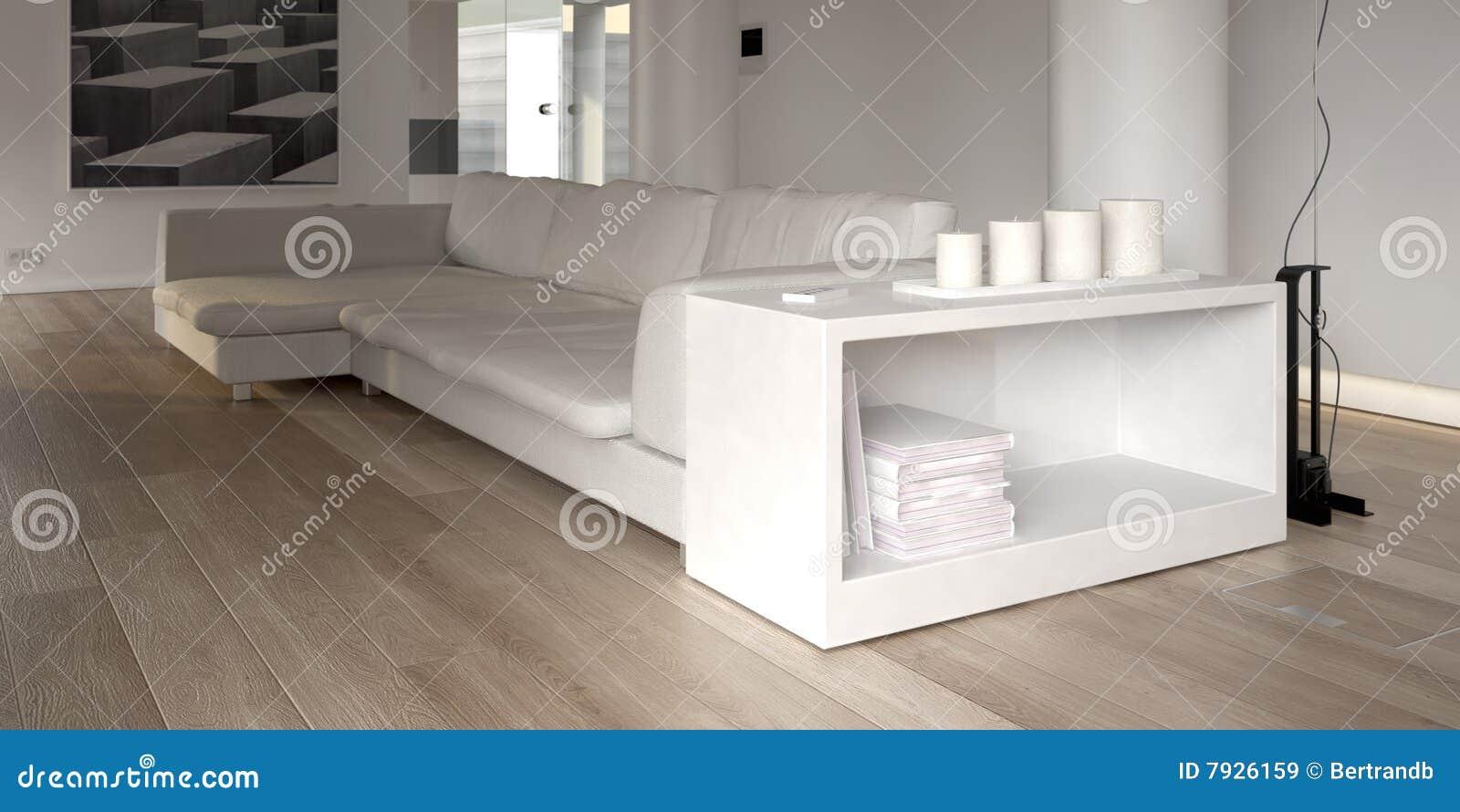 Modernes weißes Sofa mit Bücherschrank