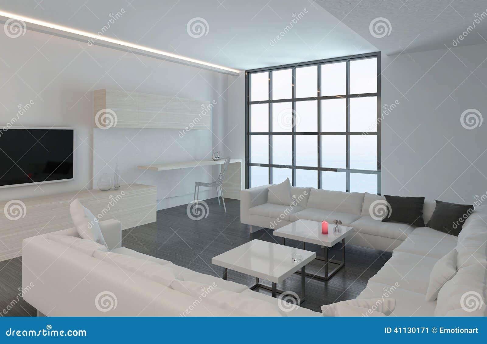 Download Modernes Weißes Wohnzimmer Mit Boden Zum Deckenfenster Stock  Abbildung   Illustration Von Möbel, Leben