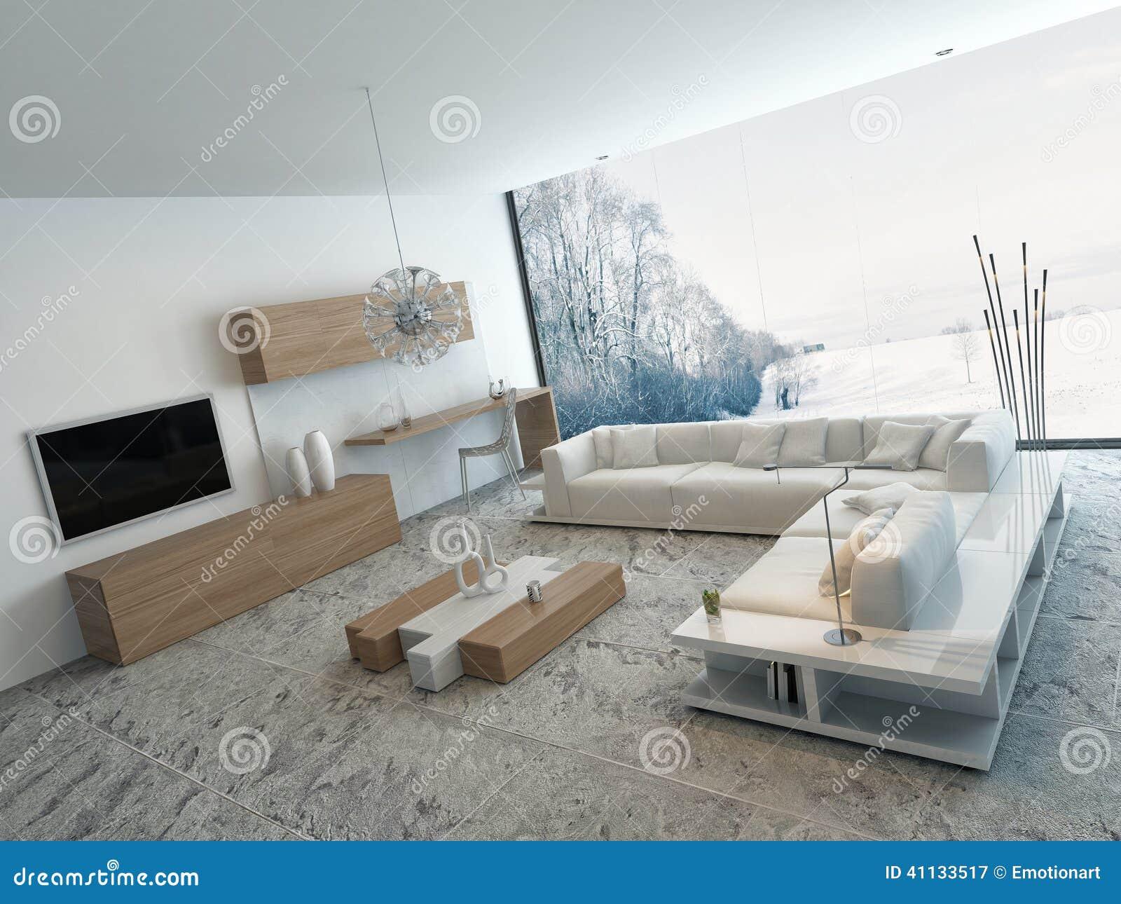 Modernes Weißes Wohnzimmer Mit Holzmöbel Stock Abbildung ...