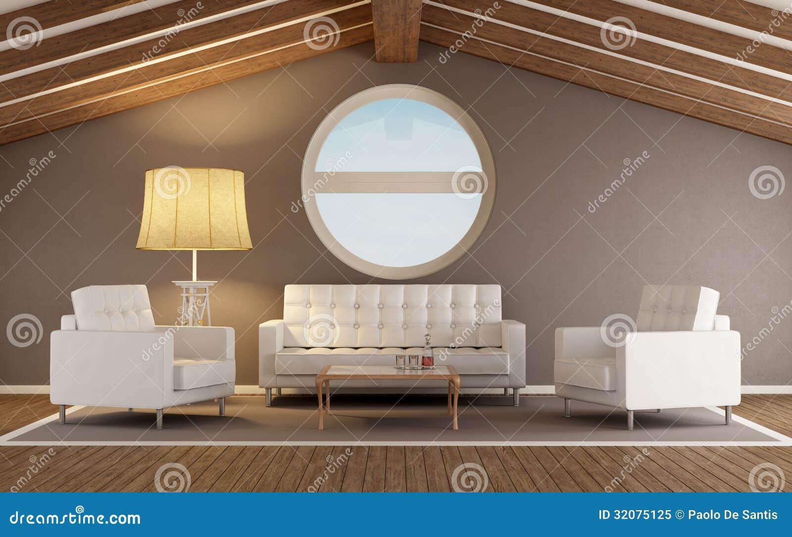 Modernes Wohnzimmer In Einem Dachboden Lizenzfreies