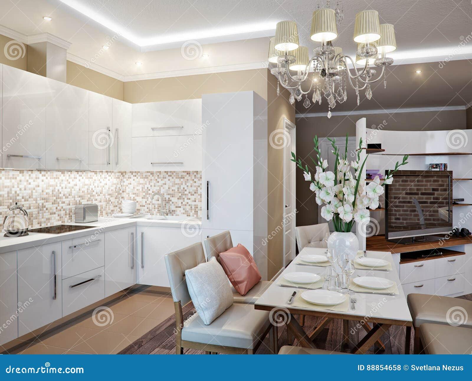 Modernes Wohnzimmer Kuche Und Esszimmer Stock Abbildung