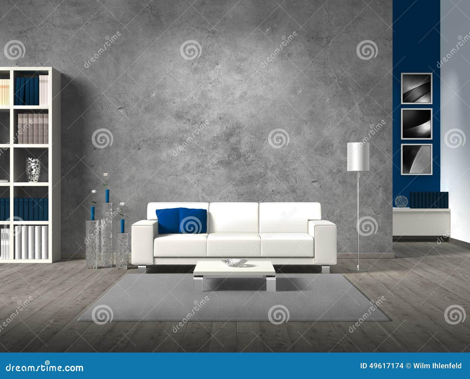 Modernes wohnzimmer mit betonmauer stock abbildung illustration