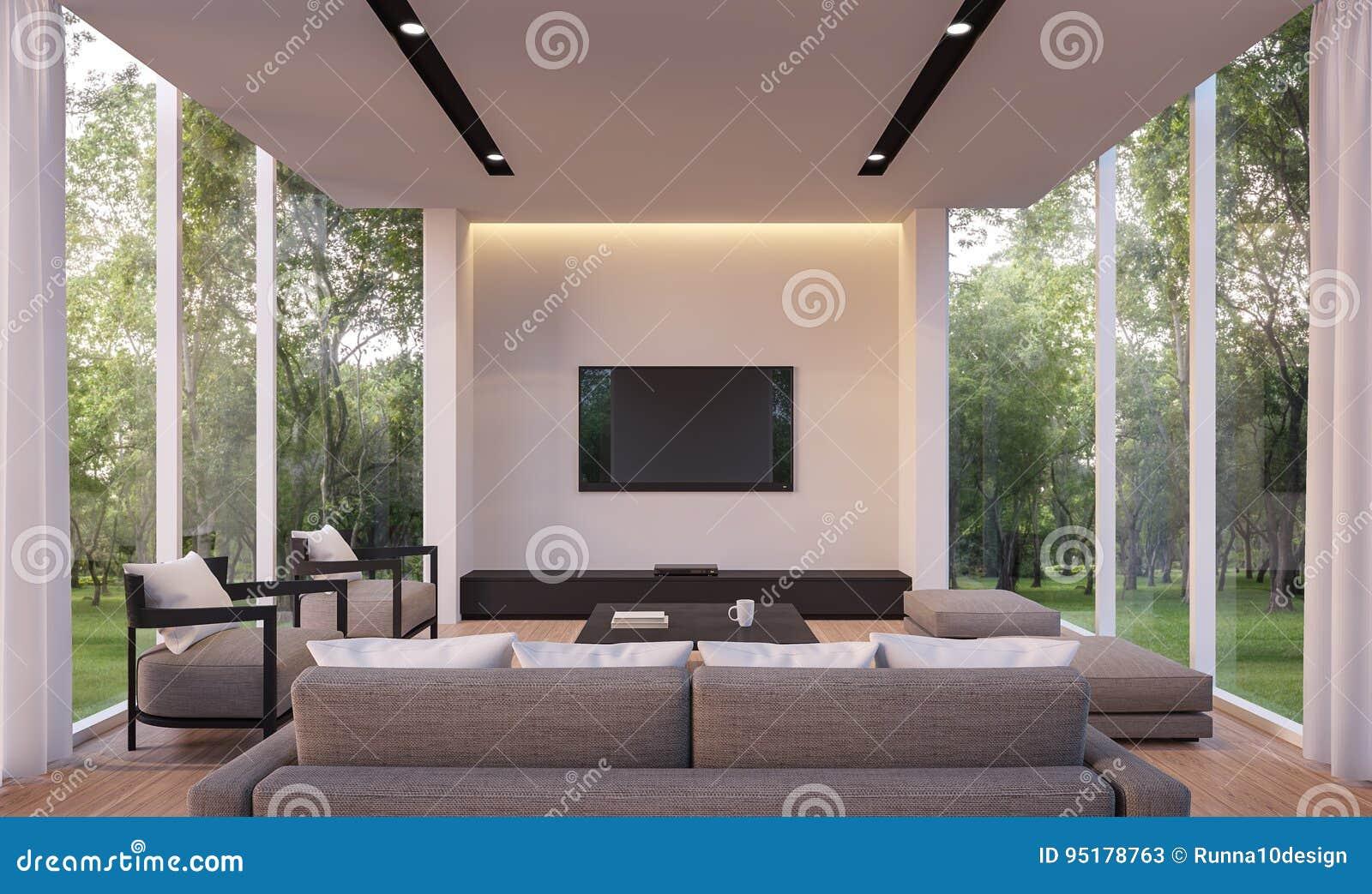 Modernes Wohnzimmer Mit Bild Wiedergabe Der Gartenansicht 3d Weißes  Wohnzimmer Mit Glaswand Holzfußboden Umgeben Durch Die Gärten, Versorgt Mit  Grauen ...
