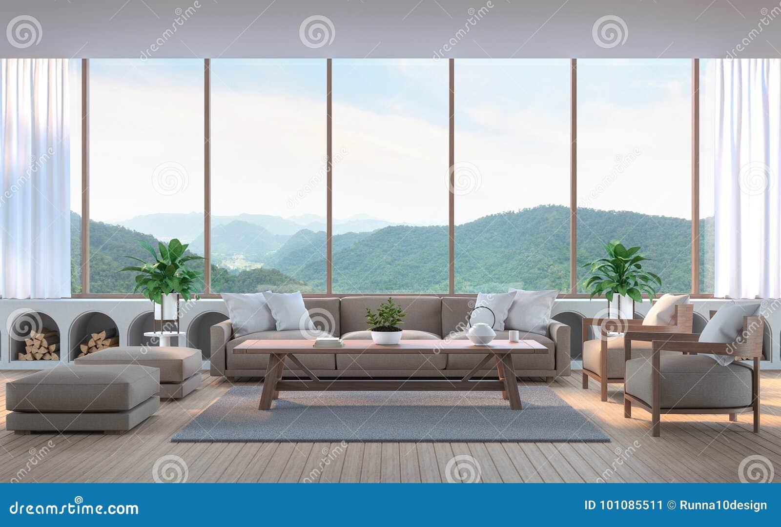 modernes wohnzimmer, modernes wohnzimmer mit bild wiedergabe des bergblicks 3d stockbild, Design ideen