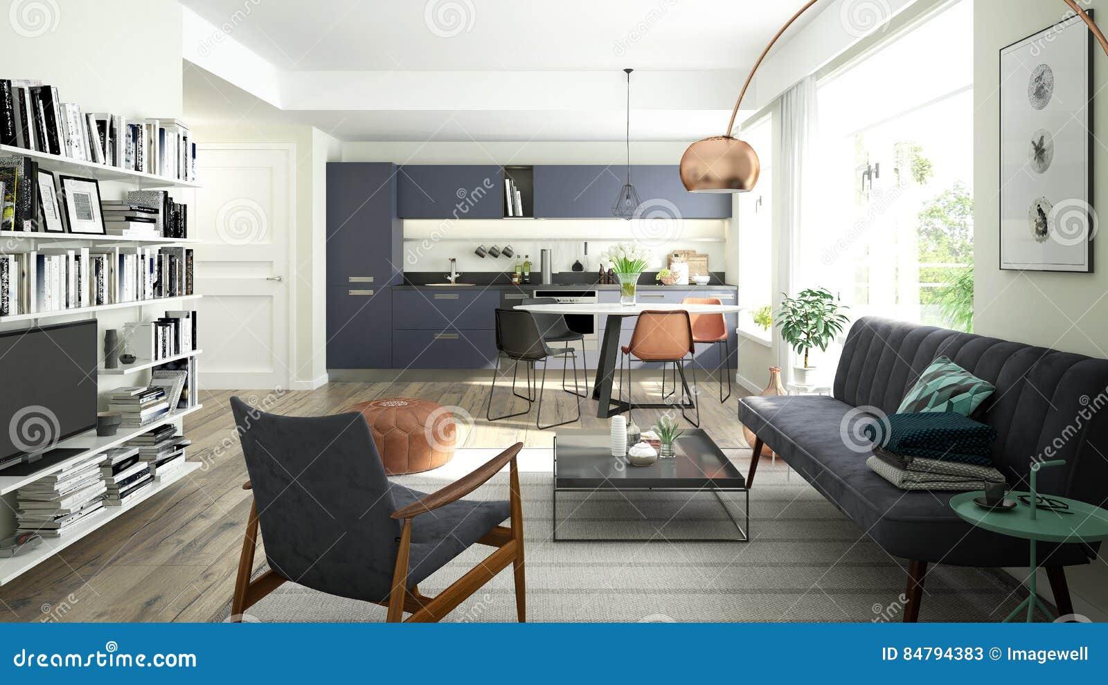 Modernes Wohnzimmer Mit Einer Offenen Küche Stock Abbildung ...
