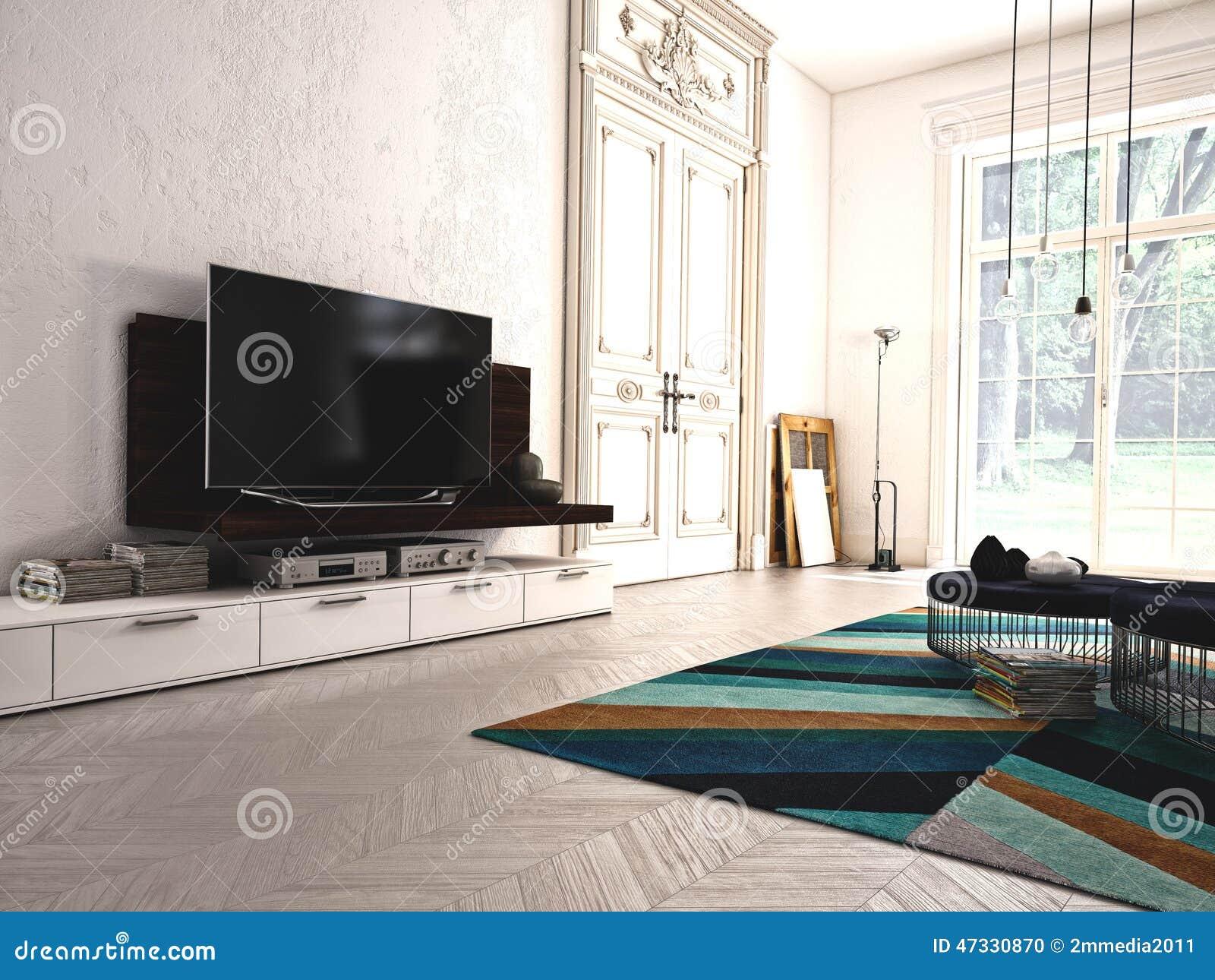 Download Modernes Wohnzimmer Mit Fernsehen Und Stereoanlage 3d Stockfoto    Bild Von Auslegung, Fußboden:
