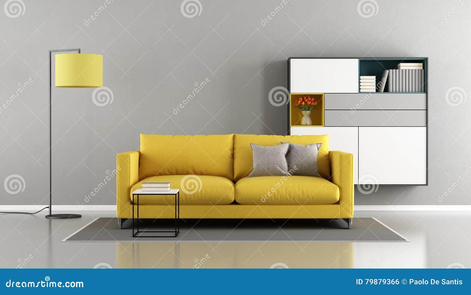 Modernes Wohnzimmer Mit Gelber Couch Stock Abbildung - Illustration ...