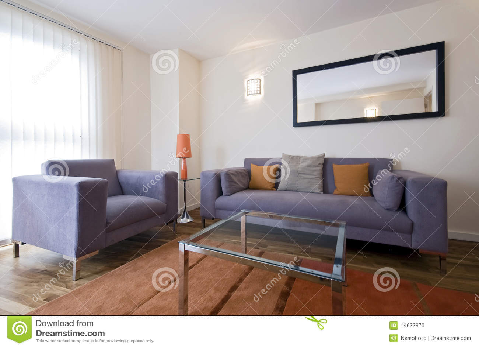 Modernes Wohnzimmer Mit Grauem Sofa Stockfoto - Bild von lampe, schwarzes: 14633970