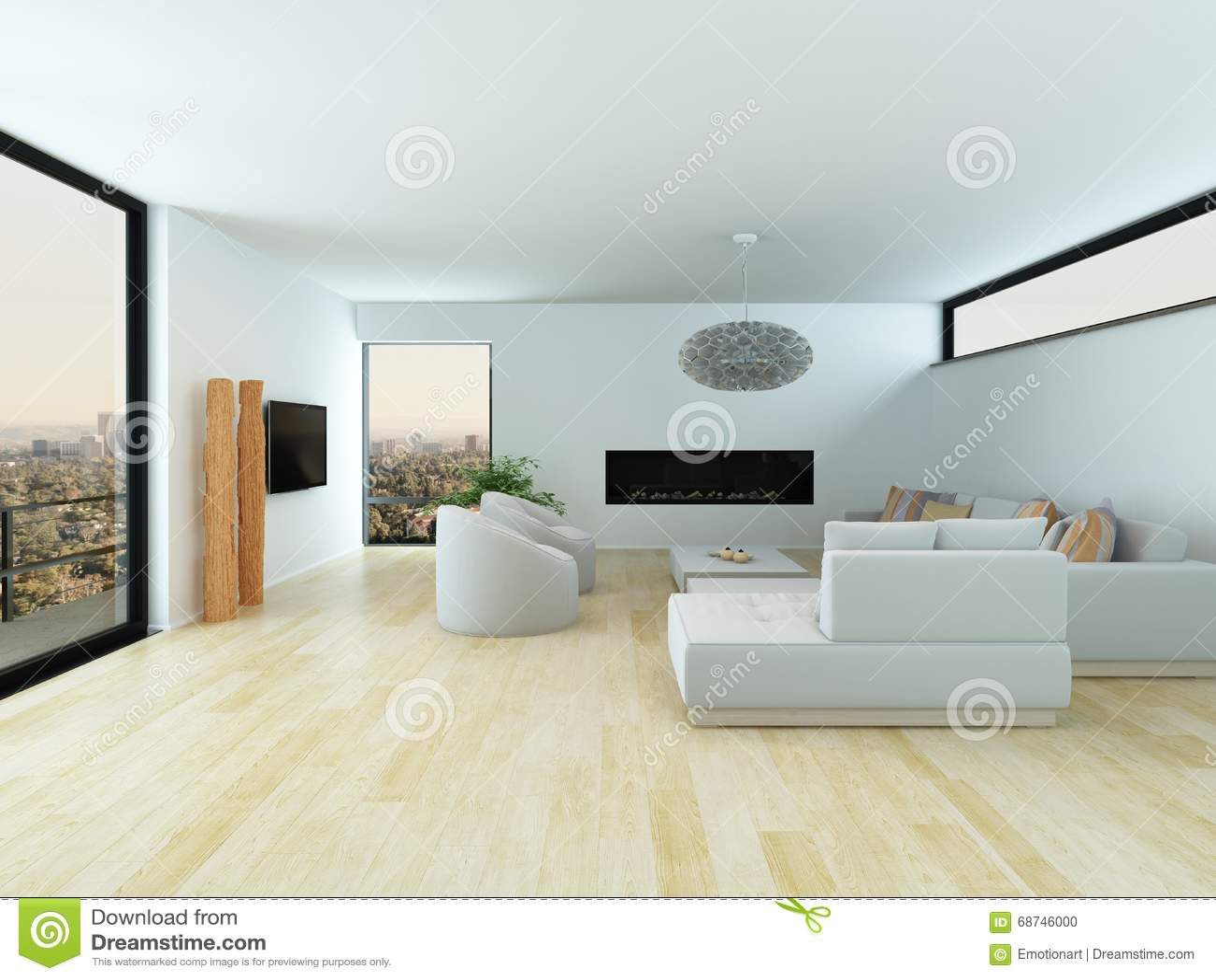 modernes wohnzimmer mit hellem parkettboden stock. Black Bedroom Furniture Sets. Home Design Ideas