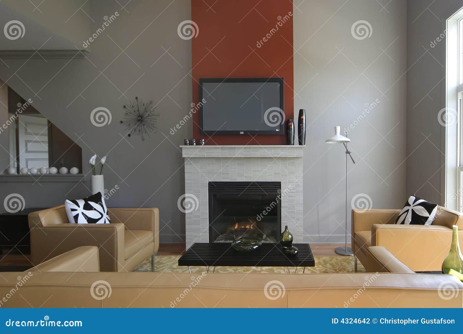Modernes Wohnzimmer Mit Kamin Stockfoto - Bild von upscale, luxus ...
