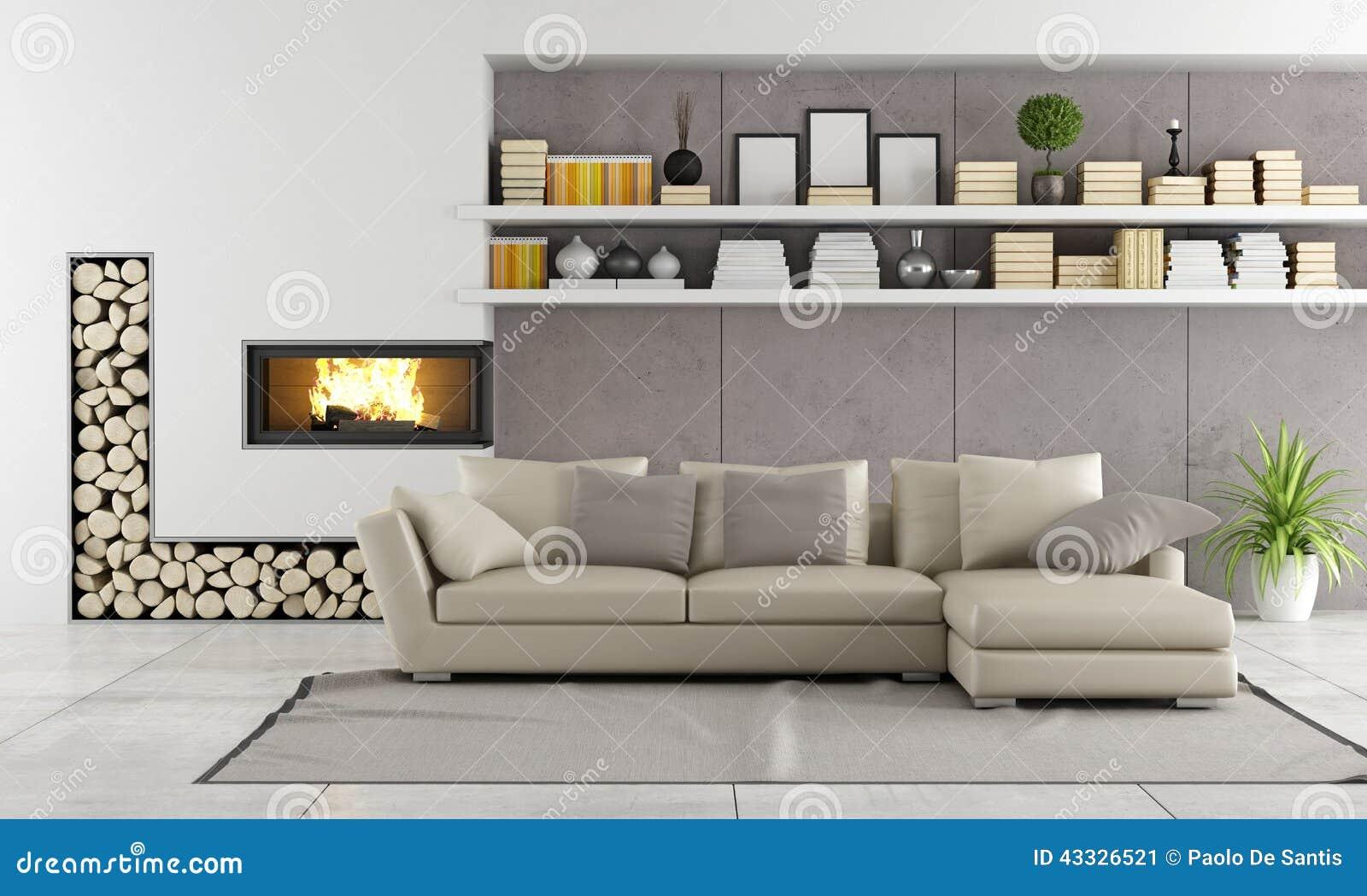 Modernes Wohnzimmer Mit Kamin Stock Abbildung - Illustration von ...
