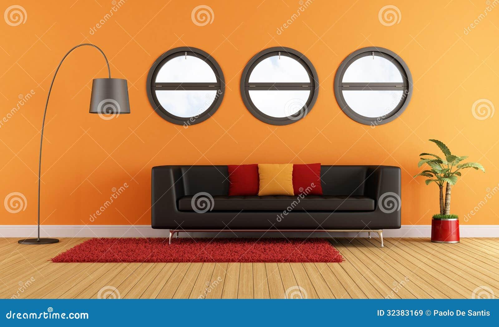 modernes wohnzimmer mit schwarzer couch lizenzfreie stockbilder bild 32383169. Black Bedroom Furniture Sets. Home Design Ideas