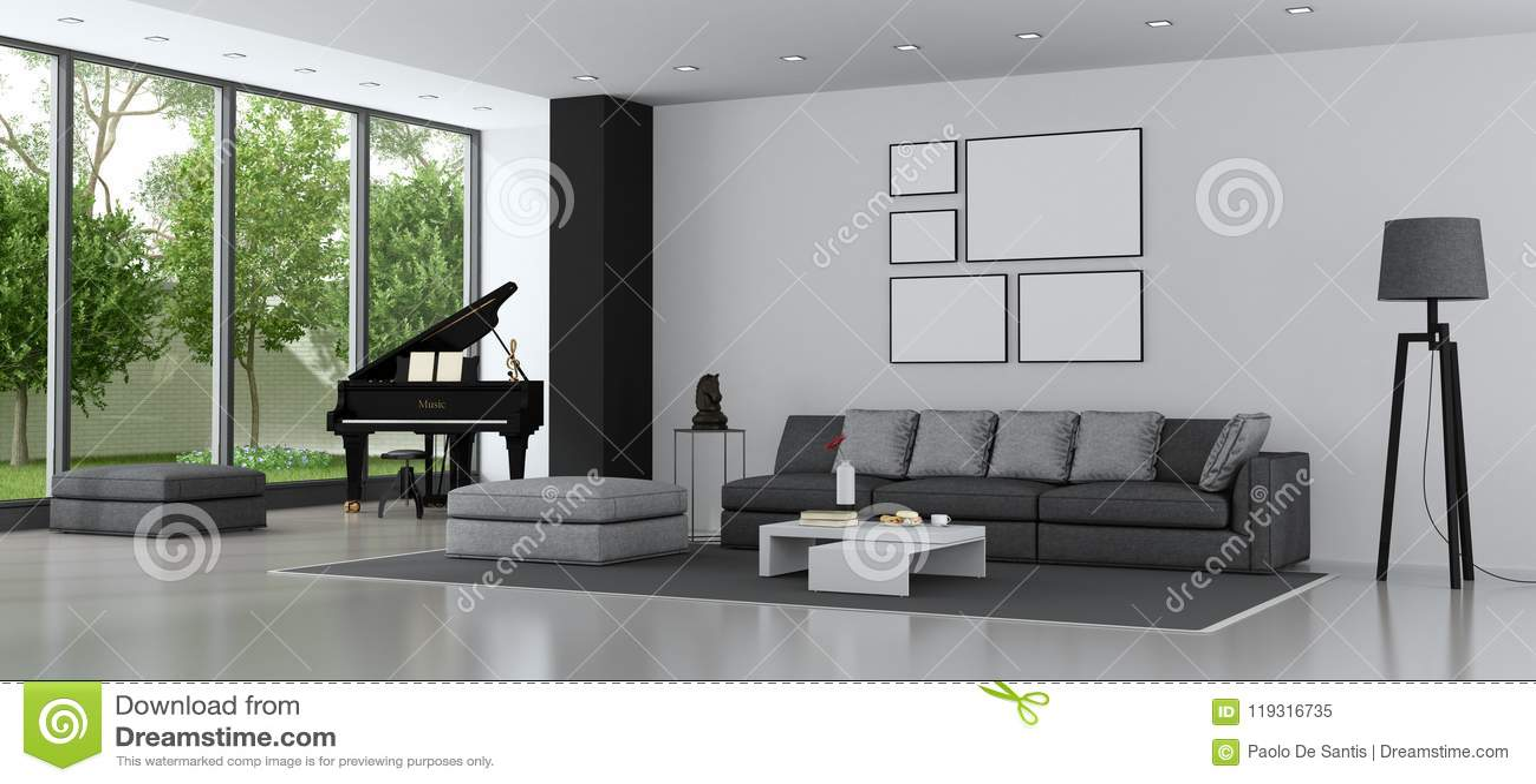 Modernes Wohnzimmer Mit Sofa Und Flügel