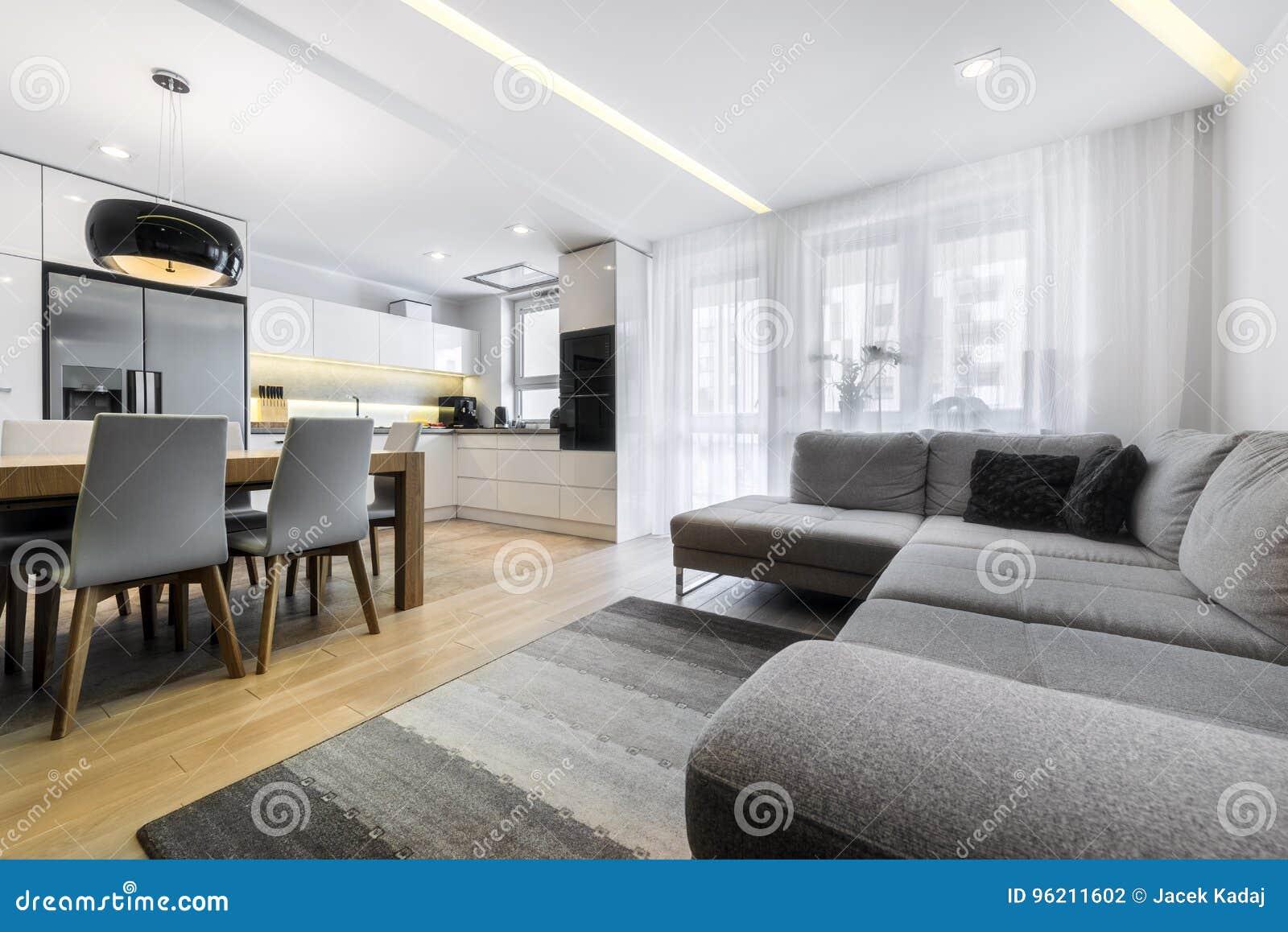 Modernes Wohnzimmer Und Küche Stockfoto - Bild von zeitgenössisch ...