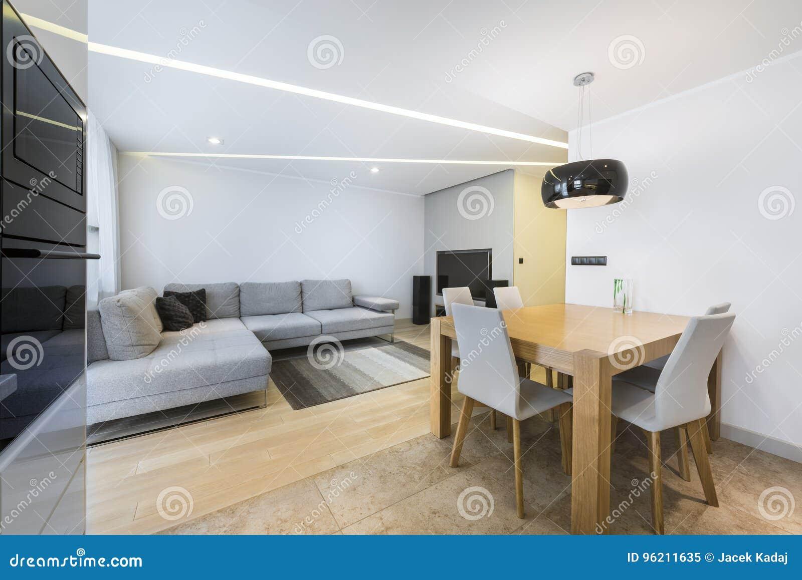 Modernes Wohnzimmer Und Küche