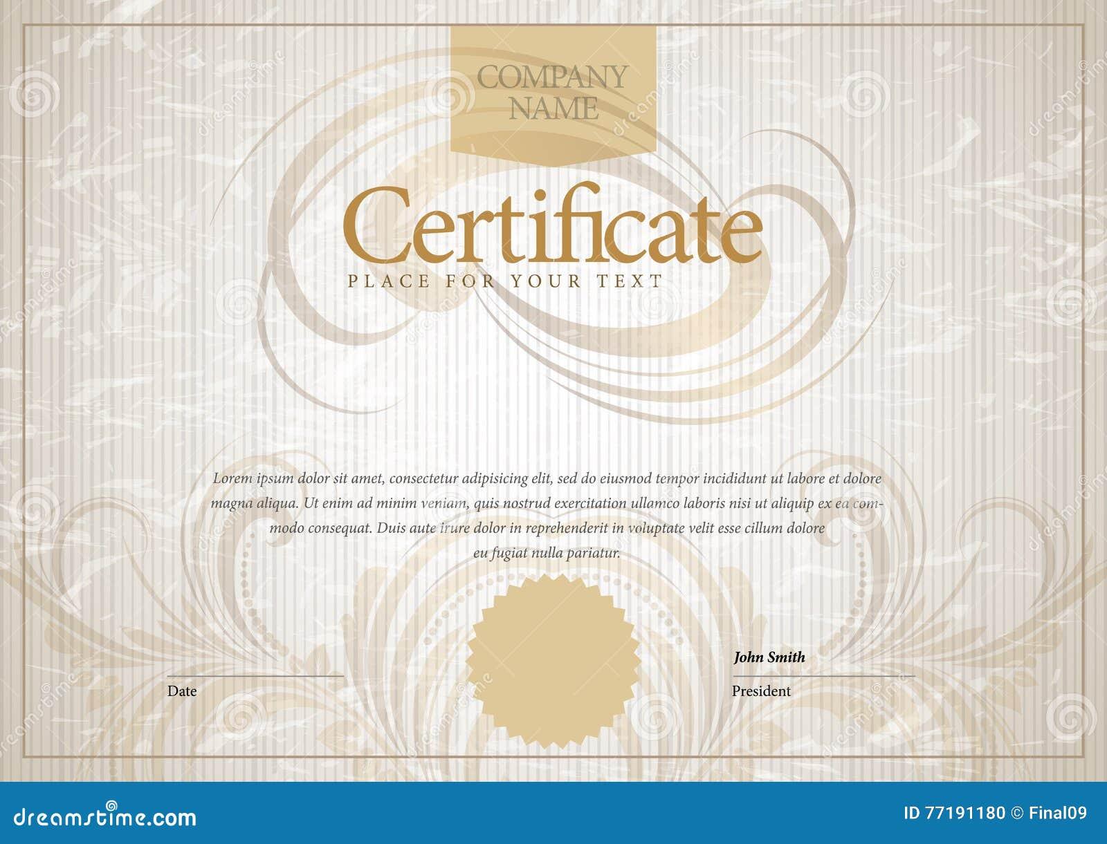 Modernes Zertifikat Schablonendiplome, Währung Vektor Abbildung ...