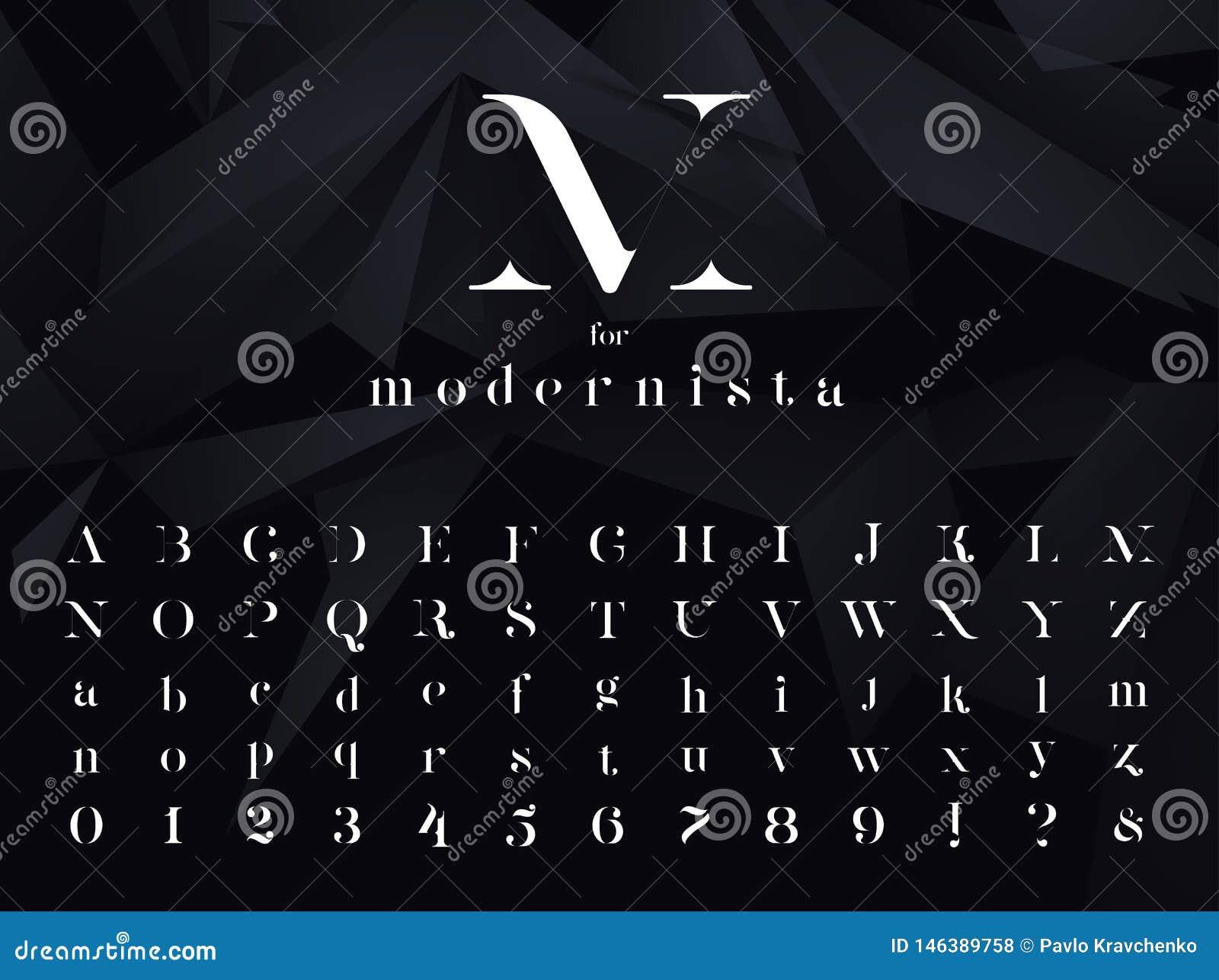 Modernista Ultra moderne minimalistic doopvont, lettersoort