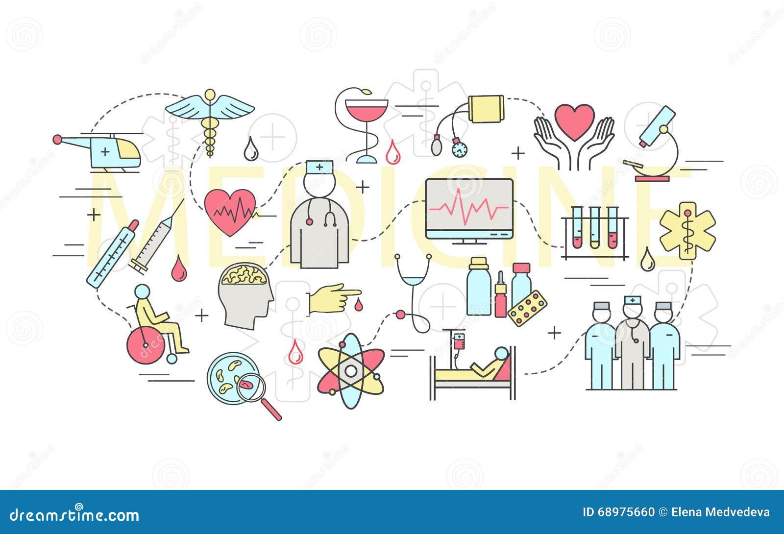 Moderno de concepto linear fino en una medicina del tema