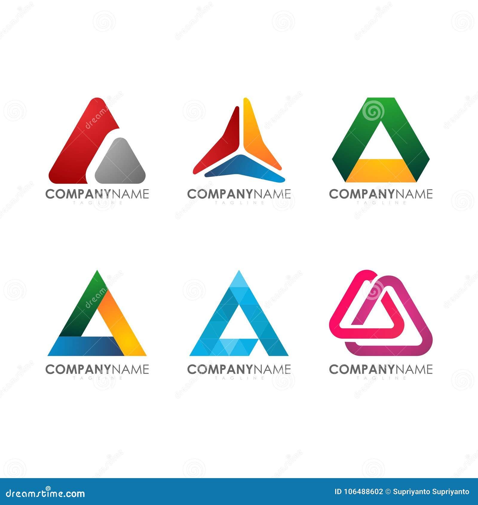 Moderno per il triangolo variopinto Logo Set di tecnologia industriale della costruzione della società