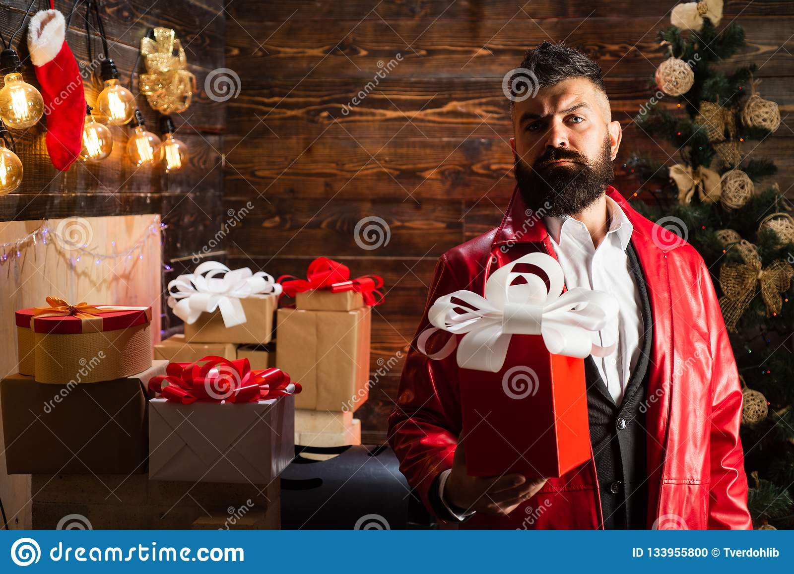 Moderno Santa Claus Caixa de presente do ano novo Feliz Natal moderno farpado dos desejos de Santa e ano novo feliz