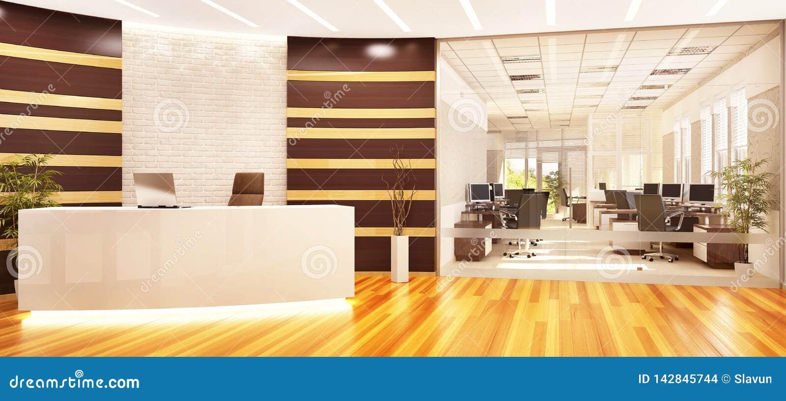 Modernt öppet kontor med mottagande och exponeringsglasdelningen