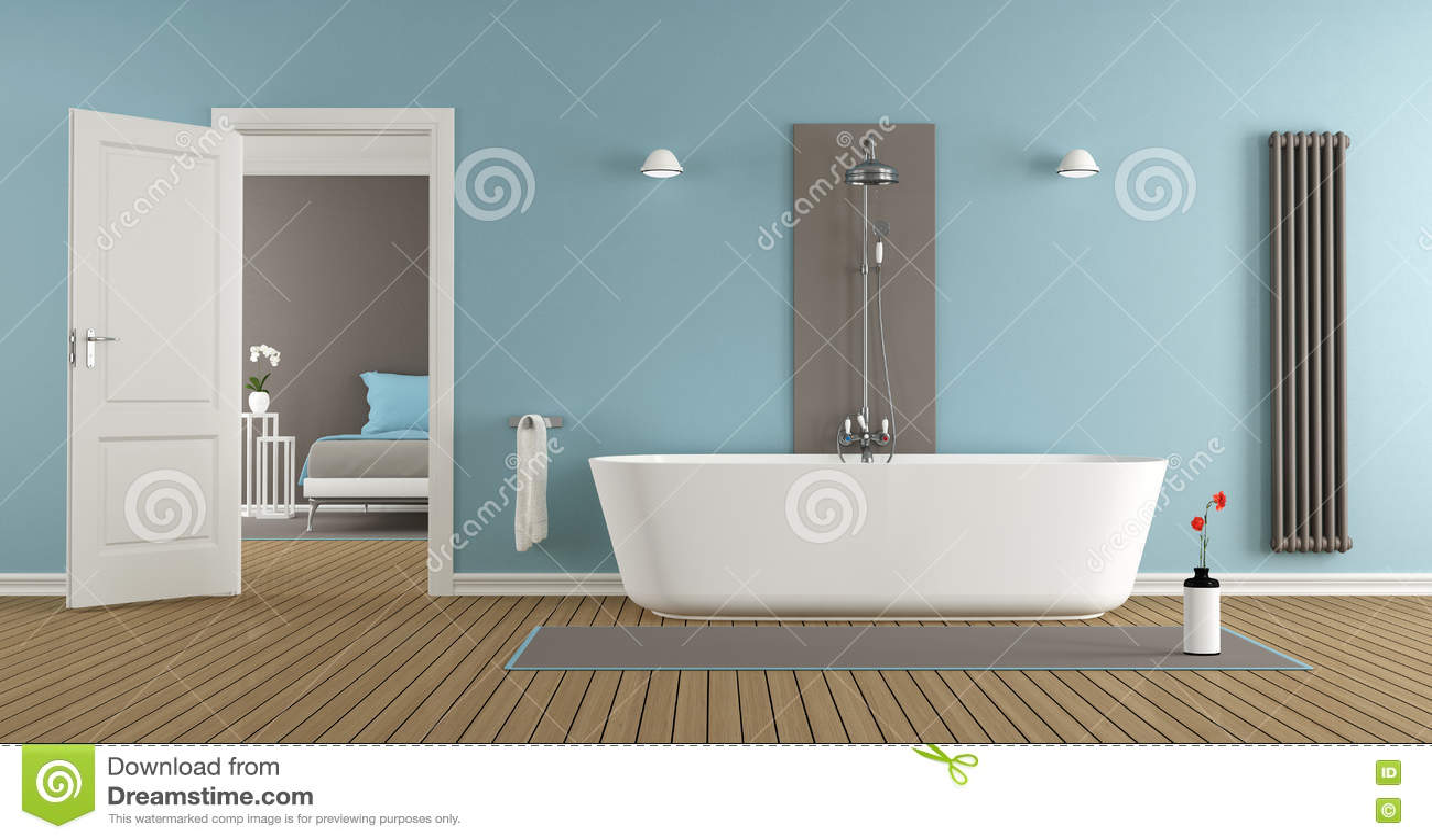 Modernt badrum med badkaret och duschen stock illustrationer ...