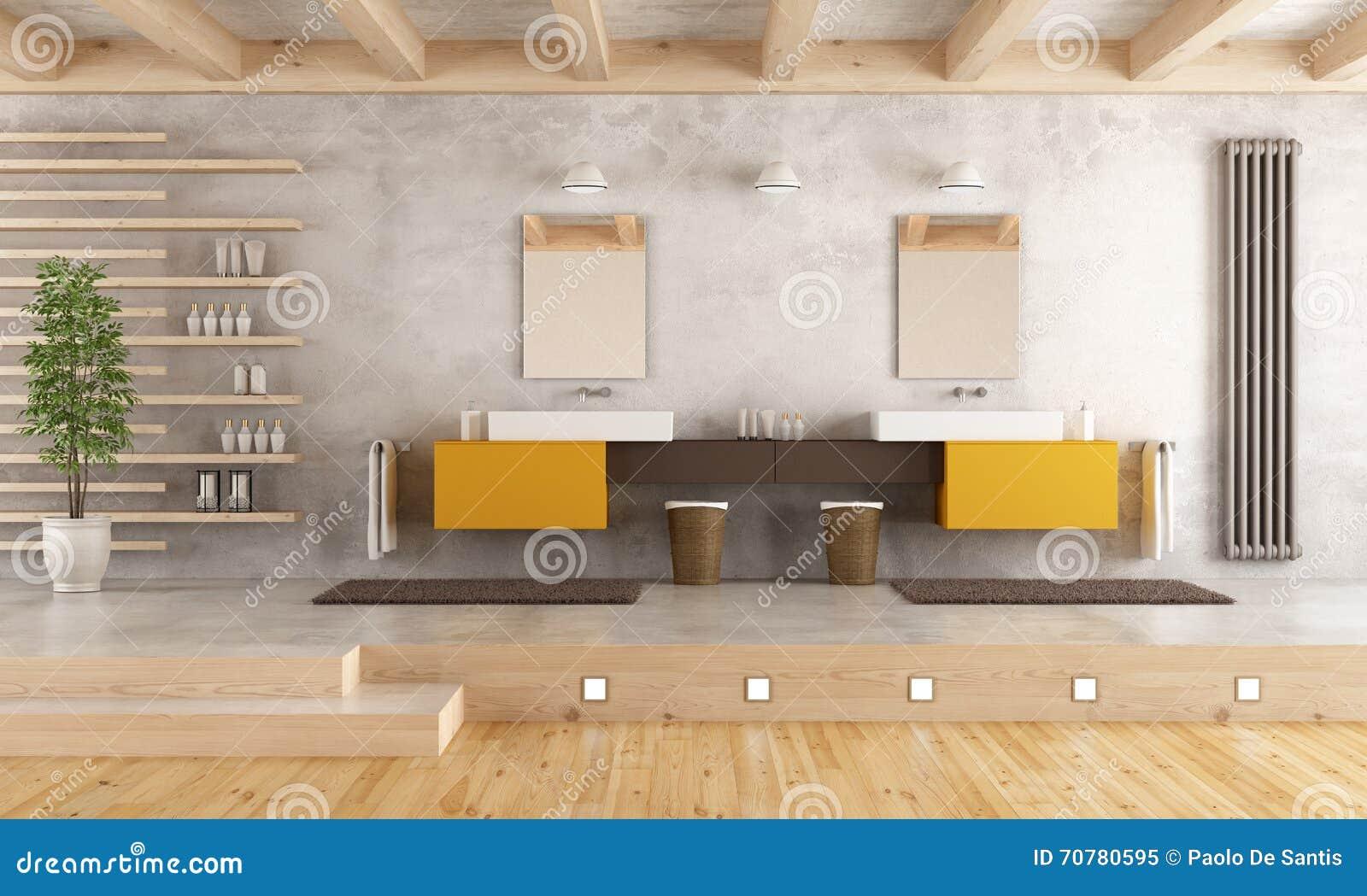 Modernt badrum med den dubbla handfatet stock illustrationer ...